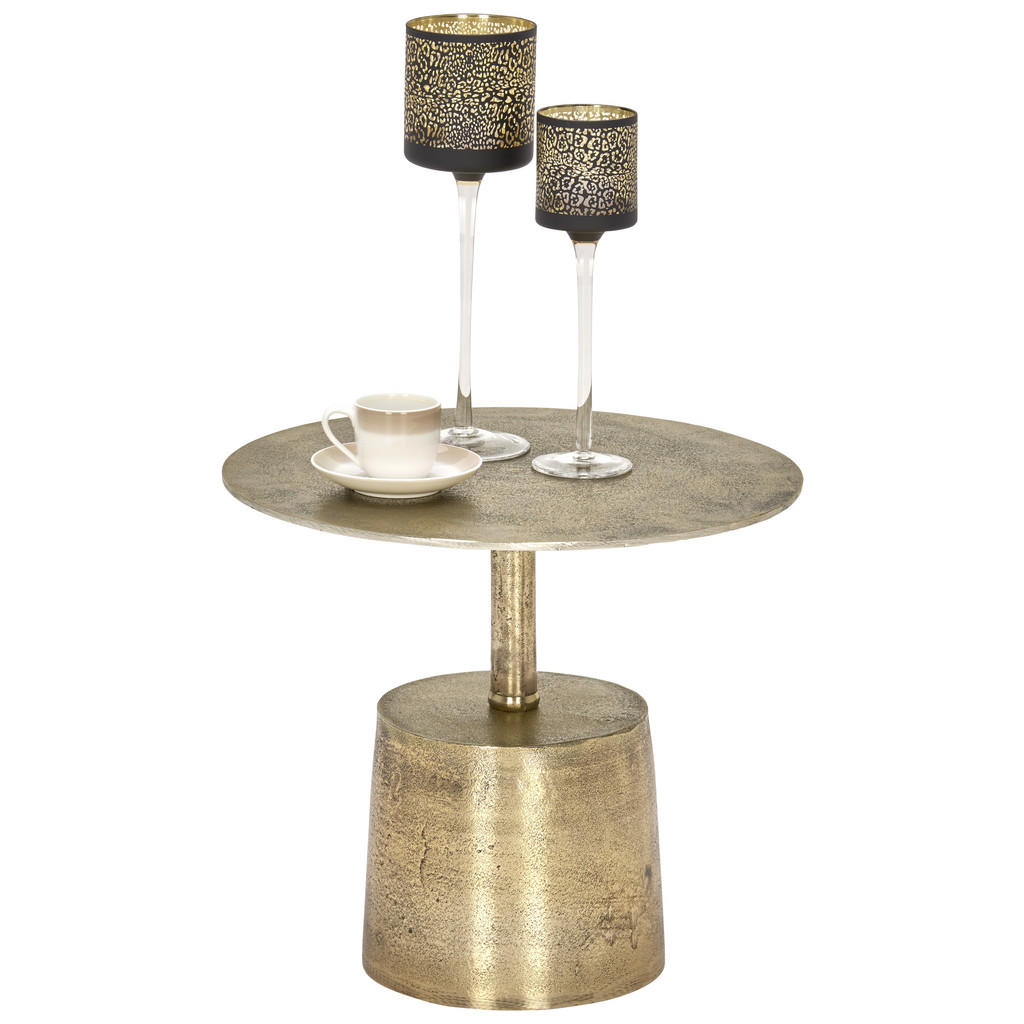 Image of Ambia Home Beistelltisch in metall 40,5/40,5/35 cm , Bindi , Goldfarben , 40.5x35 cm , antik, lackiert , 008675033401
