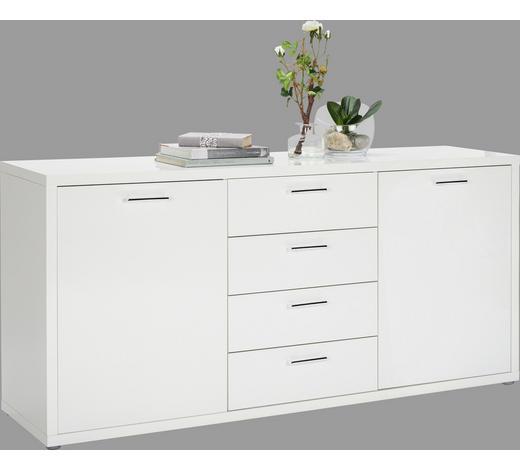 KOMMODE Hochglanz, lackiert Weiß  - Chromfarben/Weiß, Design, Holzwerkstoff/Kunststoff (180/85,5/45cm) - Carryhome
