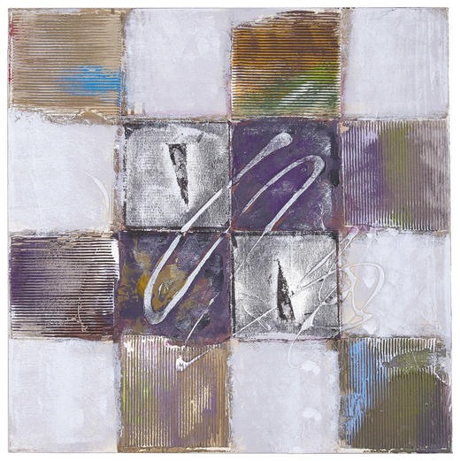 Strukturen ÖLGEMÄLDE - Multicolor/Naturfarben, Design, Holz/Textil (60/60cm) - Monee