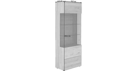 VITRINE Wildeiche massiv Eichefarben - Edelstahlfarben/Eichefarben, KONVENTIONELL, Glas/Holz (70,7/196,2/40,9cm) - Valnatura
