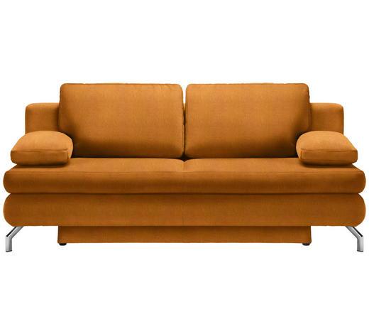 SCHLAFSOFA in Textil Orange  - Chromfarben/Orange, Design, Textil/Metall (200/91/92cm) - Novel