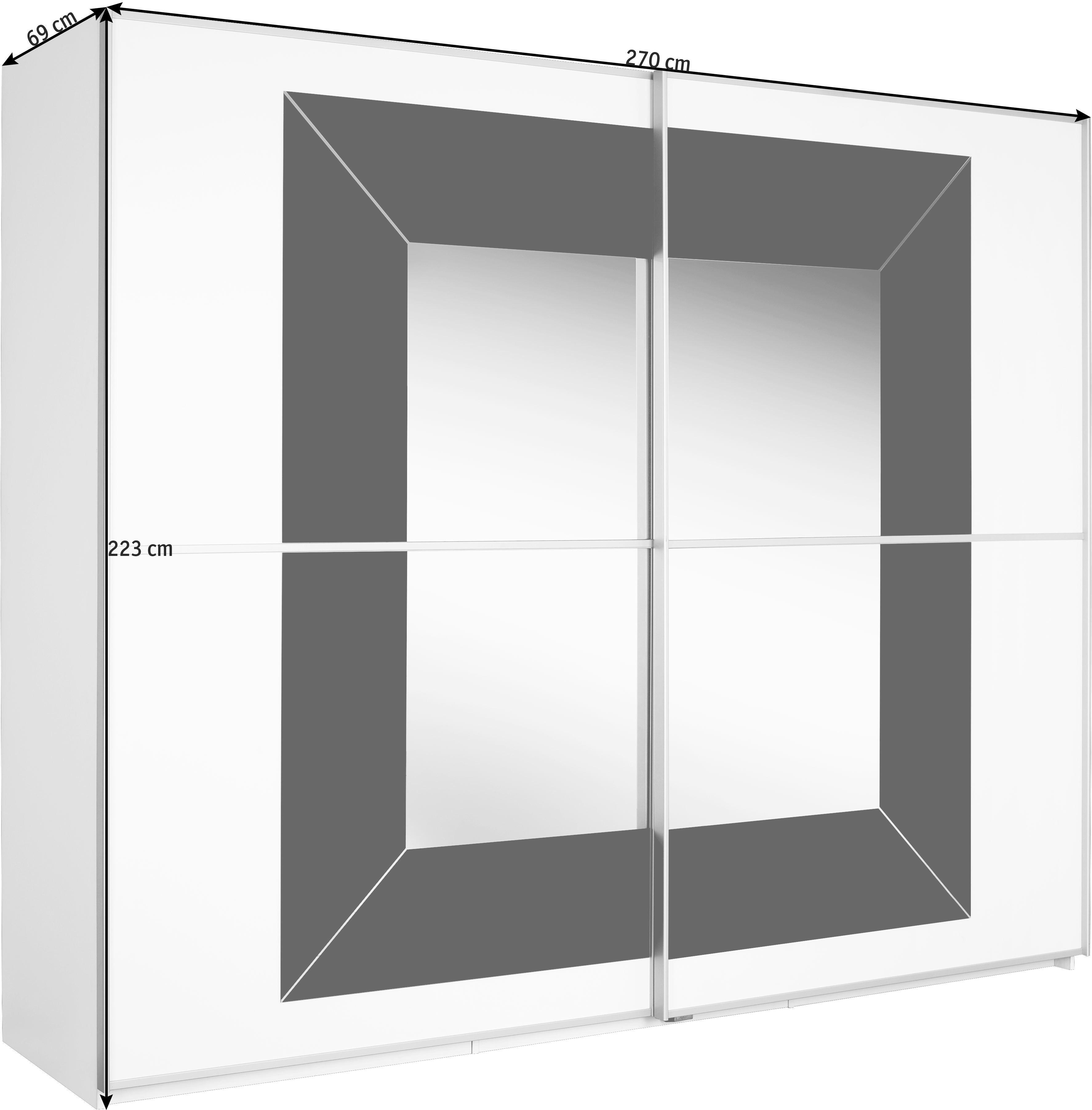 SCHWEBETÜRENSCHRANK in Grau, Weiß - Alufarben/Weiß, Design, Glas/Holzwerkstoff (270/223/69cm) - CANTUS