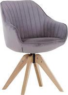 STUHL Velours Schlammfarben - Schlammfarben/Eichefarben, Design, Holz/Textil (60/83/65cm) - Hom`in
