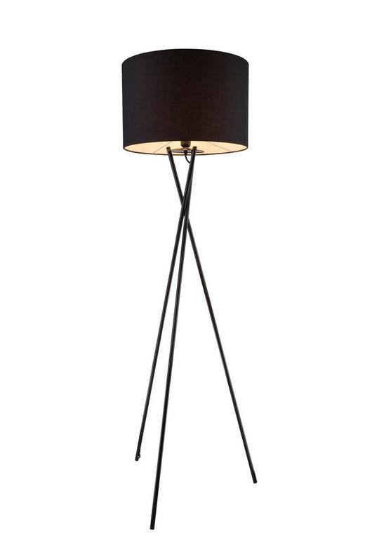 STEHLEUCHTE - Schwarz, MODERN, Textil/Metall (62/160cm)