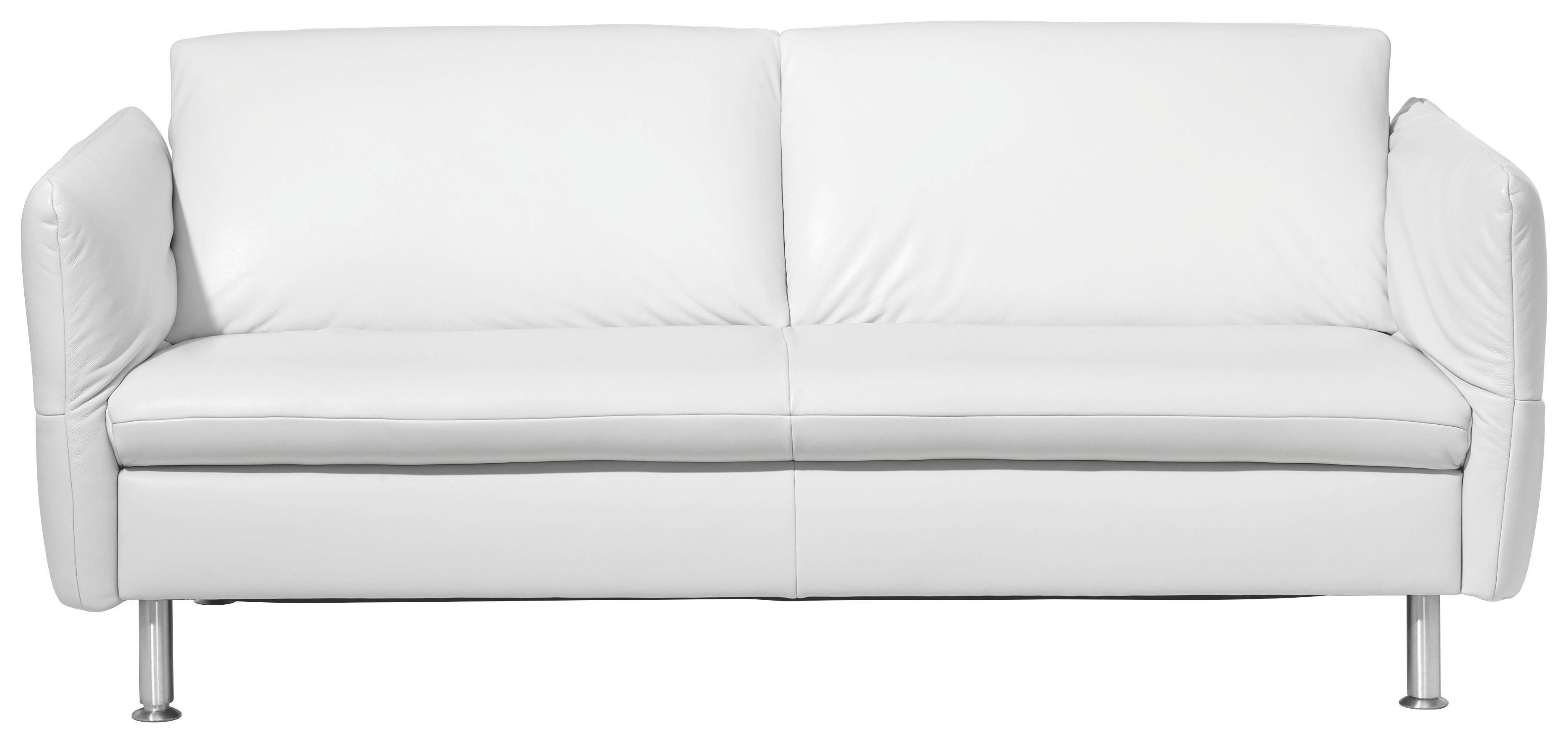 SITZGARNITUR Echtleder Weiß - Alufarben/Weiß, Design, Leder/Metall (182/142/78/96cm) - KOINOR