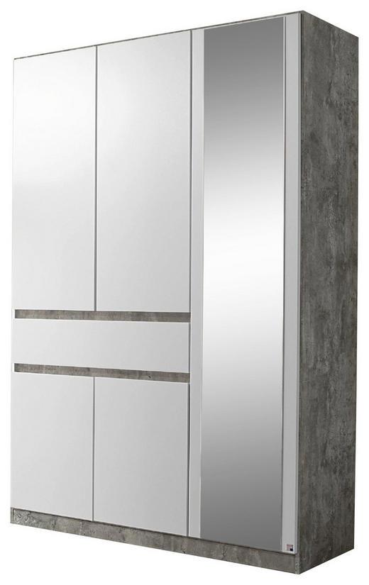 KLEIDERSCHRANK 5  -türig Grau, Weiß - Weiß/Grau, Design, Glas/Holzwerkstoff (136/197/54cm) - Carryhome