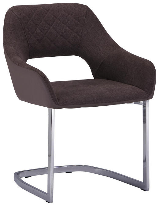SCHWINGSTUHL Lederlook, Webstoff Braun, Chromfarben - Chromfarben/Braun, Design, Textil/Metall (59/79/60cm) - Ti`me