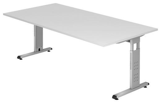 SCHREIBTISCH Weiß - Silberfarben/Weiß, KONVENTIONELL, Metall (200/65-85/100cm)