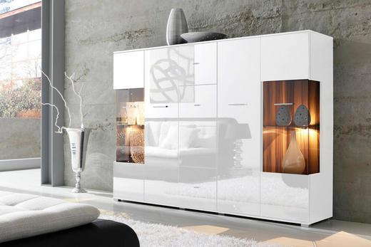 HIGHBOARD Hochglanz, melaminharzbeschichtet Weiß - Silberfarben/Weiß, Design, Glas/Holzwerkstoff (188/133/37cm) - Carryhome