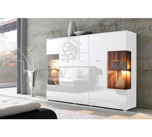 HIGHBOARD Weiß - Silberfarben/Weiß, Design, Glas/Holzwerkstoff (188/133/37cm) - Carryhome