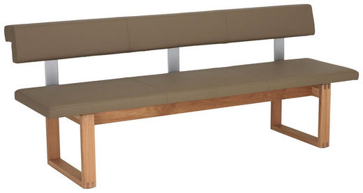SITZBANK Echtleder Wildeiche mehrschichtige Massivholzplatte (Tischlerplatte) Eichefarben, Grau - Eichefarben/Grau, Design, Leder/Holz (208/86,5/65,5cm) - VOGLAUER