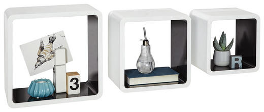 WANDREGALSET 3-teilig Schwarz, Weiß - Schwarz/Weiß, Design (35/35/20cm)