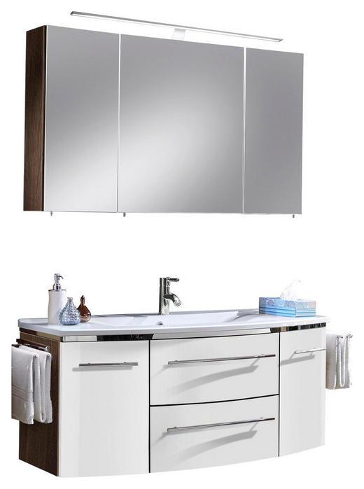 BADEZIMMER Teakfarben, Weiß - Weiß/Teakfarben, Design, Stein (122cm) - Welnova