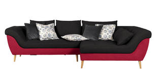 WOHNLANDSCHAFT in Textil Rot, Dunkelgrau  - Dunkelgrau/Rot, Design, Holz/Textil (313/175cm) - Carryhome