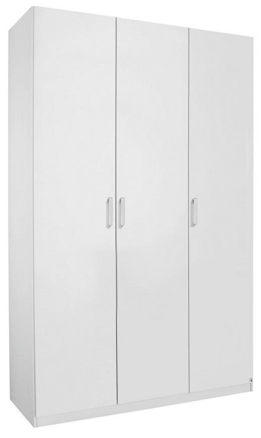 DREHTÜRENSCHRANK 3  -türig Weiß - Alufarben/Weiß, Design, Holzwerkstoff/Metall (136/222/60cm) - Hom`in