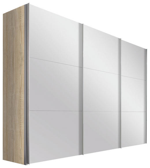 SCHWEBETÜRENSCHRANK in Eichefarben - Eichefarben/Alufarben, Design, Glas/Holzwerkstoff (300/236/68cm) - Hom`in