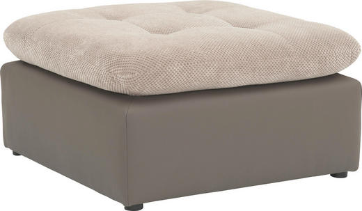 HOCKER Lederlook Beige, Grau - Chromfarben/Beige, Design, Textil/Metall (73/40/73cm) - Carryhome