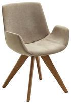 STUHL Webstoff Eichefarben, Sandfarben - Sandfarben/Eichefarben, Design, Holz/Textil (63/86/57cm) - VALDERA