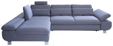 WOHNLANDSCHAFT Webstoff Nierenkissen, Rücken echt - Chromfarben/Hellblau, Design, Textil/Metall (203/313cm) - Venda