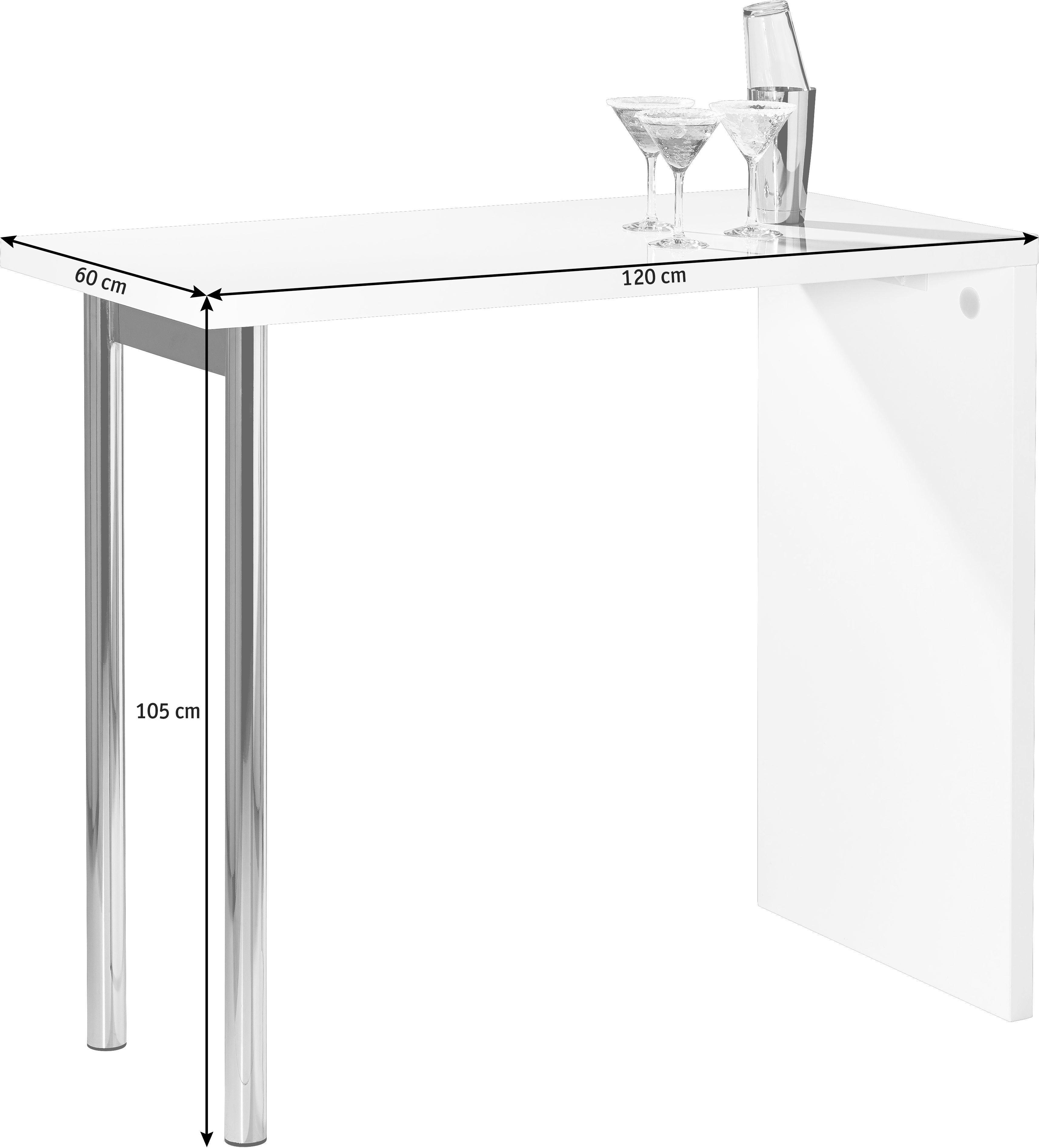 BARTISCH rechteckig Chromfarben, Weiß - Chromfarben/Weiß, Design, Holzwerkstoff/Metall (120/105/60cm) - CARRYHOME