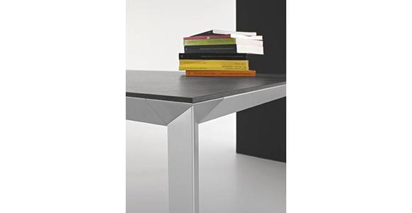 ESSTISCH rechteckig Alufarben, Schwarz - Alufarben/Schwarz, Design, Kunststoff/Metall (160(220)/90/76cm) - Novel