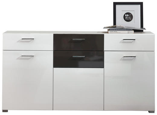 SIDEBOARD Hochglanz Grau, Weiß - Alufarben/Weiß, Design, Glas/Holzwerkstoff (170/87/42cm) - Xora