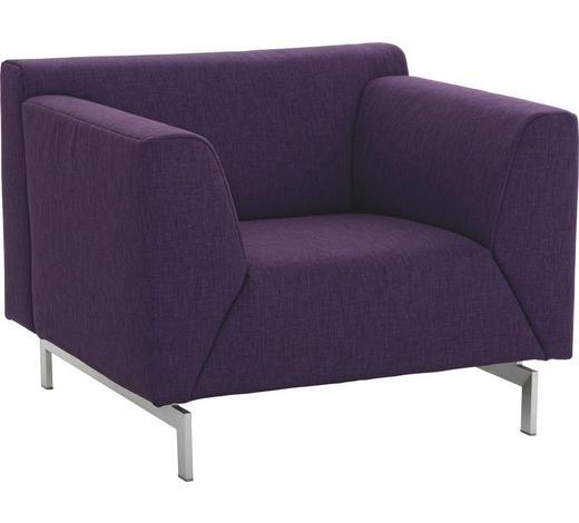 SESSEL in Textil Violett - Edelstahlfarben/Violett, Design, Textil/Metall (93/73/89cm) - Rolf Benz