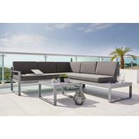 LOUNGEGARNITUR 10-teilig  219/192 cm   - Silberfarben/Grau, Design, Textil/Metall (219/192cm) - Ambia Garden