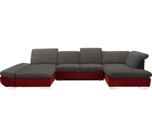 WOHNLANDSCHAFT in Textil Braun, Weinrot  - Chromfarben/Weinrot, Design, Kunststoff/Textil (204/350/211cm) - Xora