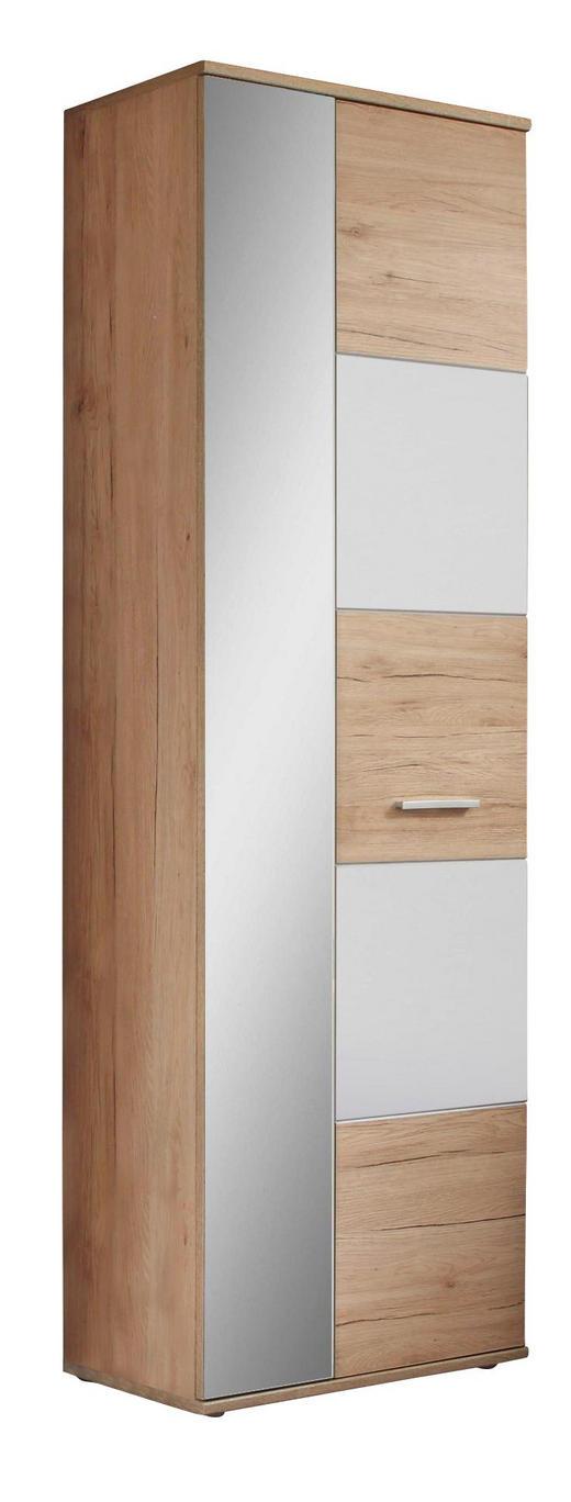 GARDEROBENSCHRANK Eichefarben, Weiß - Eichefarben/Silberfarben, KONVENTIONELL, Glas/Holzwerkstoff (65/198/36cm) - Voleo