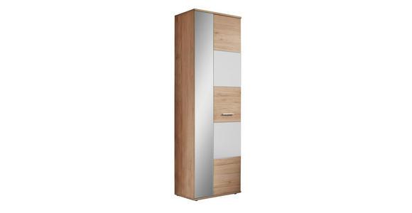 GARDEROBENSCHRANK - Eichefarben/Silberfarben, MODERN, Glas/Holzwerkstoff (65/198/36cm) - Voleo