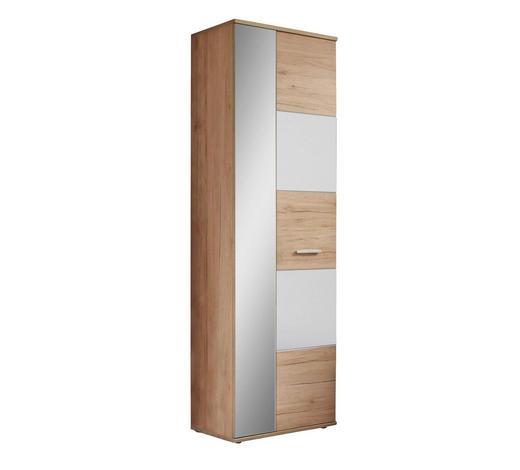 GARDEROBENSCHRANK 65/198/36 cm - Eichefarben/Silberfarben, MODERN, Glas/Holzwerkstoff (65/198/36cm) - Voleo