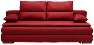 SCHLAFSOFA in Textil Rot  - Silberfarben/Rot, KONVENTIONELL, Kunststoff/Textil (207/94/90cm) - Venda
