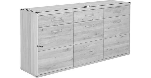 SIDEBOARD Eiche massiv geölt Eichefarben - Eichefarben, KONVENTIONELL, Holz/Metall (184/89/45cm) - Cantus