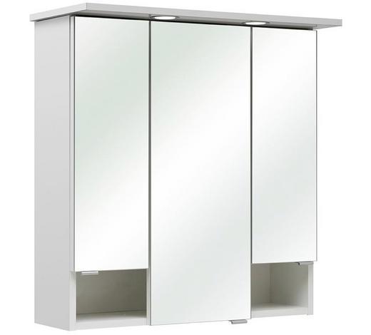 SPIEGELSCHRANK Weiß  - Chromfarben/Weiß, Basics, Glas/Holzwerkstoff (65/71,6/20cm) - Carryhome