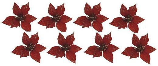 Dekoclip-Set 8-tlg. - Rot, Kunststoff/Metall (7/4,5cm)