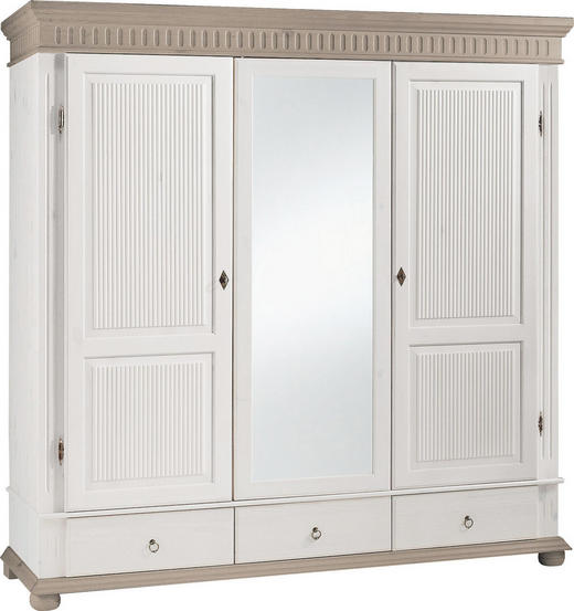 KLEIDERSCHRANK 3-türig Kiefer massiv Grau, Weiß - Weiß/Grau, Design, Holz/Metall (195/199/62cm) - Carryhome