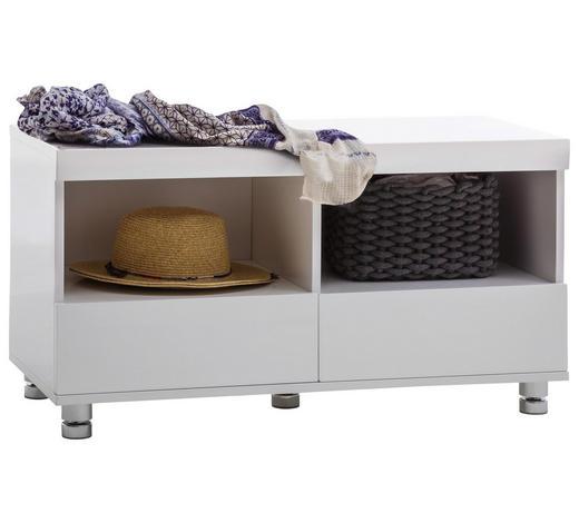 ŠATNÍ LAVICE, bílá, barvy chromu,  - bílá/barvy chromu, Design, kov/kompozitní dřevo (90/47/40cm) - Xora