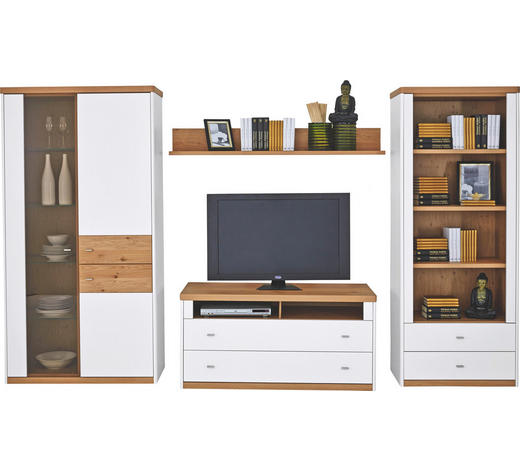 OBÝVACÍ STĚNA, bílá, barvy dubu - bílá/barvy stříbra, Konvenční, kov/dřevo (320/184/50cm) - Venda