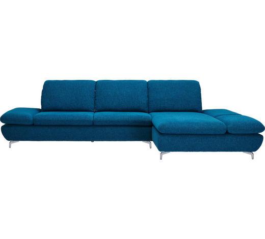 WOHNLANDSCHAFT in Textil Petrol - Silberfarben/Petrol, Design, Textil (315/200cm) - Chilliano