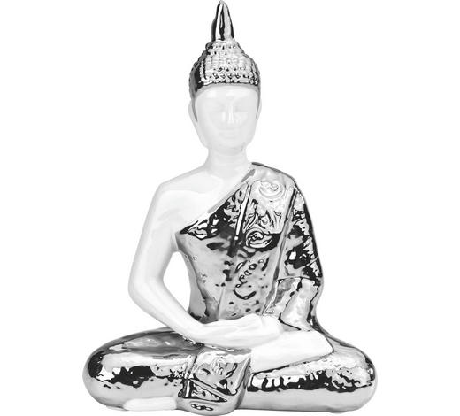 BUDDHA 17,5/23,5 cm - Silberfarben/Weiß, Keramik (17,5/23,5cm) - Ambia Home