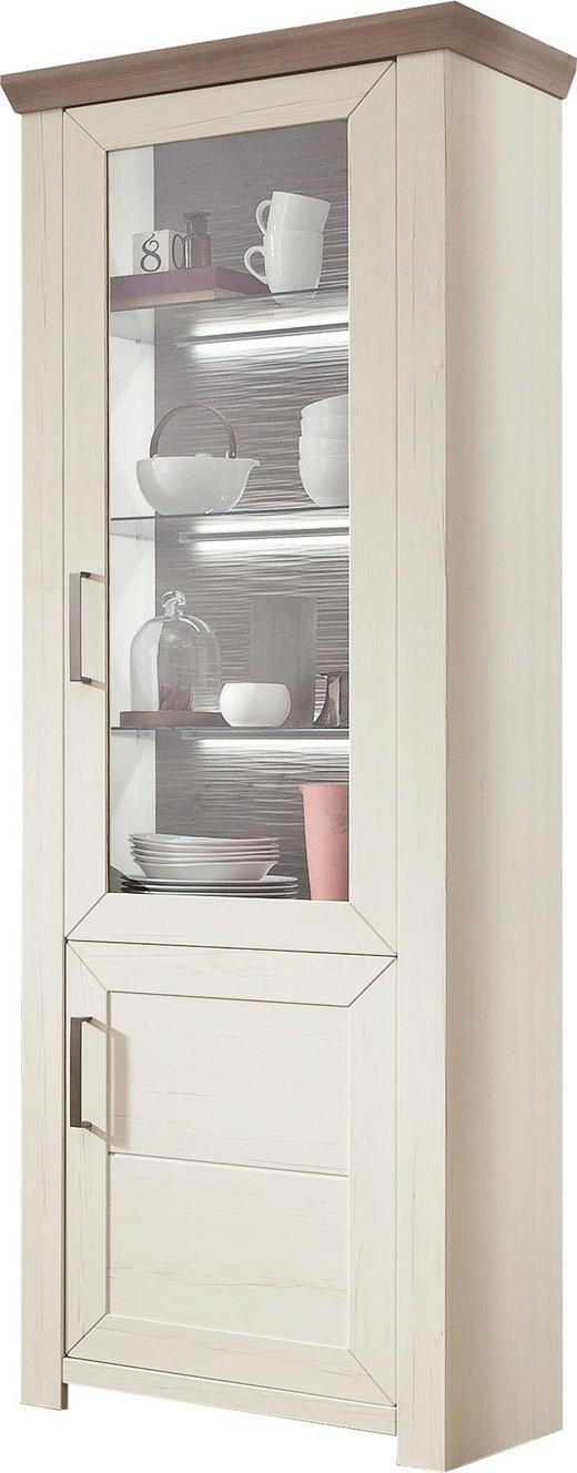 VITRINE EICHE NELSON Eichefarben, Weiß - Edelstahlfarben/Eichefarben, Design, Glas/Holzwerkstoff (74,5/206,6/42,2cm) - Set one by Musterrin