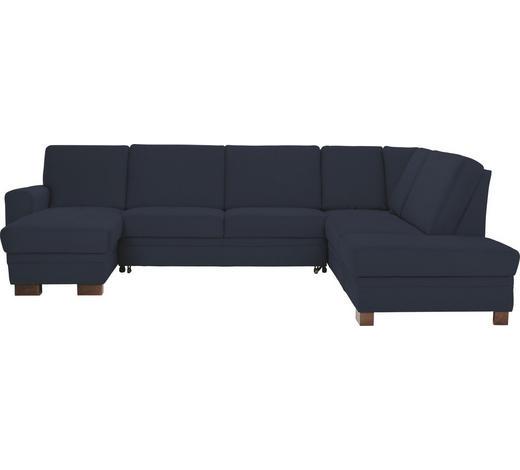 WOHNLANDSCHAFT Dunkelblau  - Dunkelblau/Braun, Design, Holz/Textil (163/319/241cm) - Beldomo System