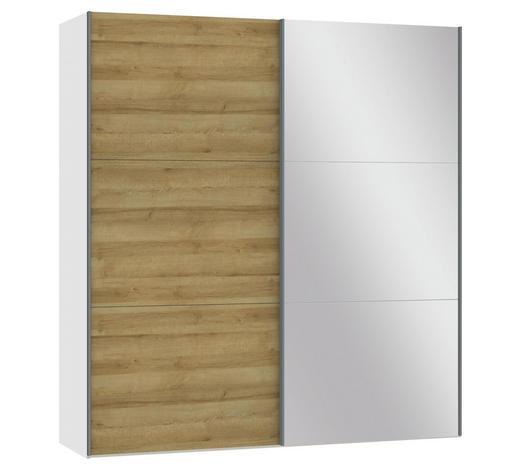 SCHWEBETÜRENSCHRANK in Weiß, Eichefarben - Eichefarben/Silberfarben, Design, Glas/Holzwerkstoff (202,5/220/65cm) - Jutzler