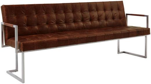 SITZBANK Echtleder Braun, Edelstahlfarben - Edelstahlfarben/Braun, Design, Leder/Metall (220/85/67cm) - Musterring