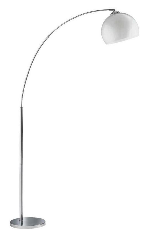 BOGENLEUCHTE - Chromfarben/Weiß, Design, Kunststoff/Metall (110/180/25cm)