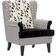 KŘESLO UŠÁK - bílá/černá, Trend, dřevo/textil (77/102/80cm) - CARRYHOME