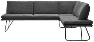 ECKBANK Grau, Edelstahlfarben  - Chromfarben/Edelstahlfarben, Design, Textil/Metall (247/186cm) - Dieter Knoll