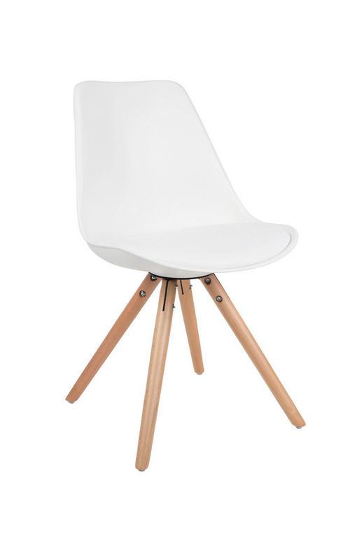 STUHL Lederlook Weiß - Buchefarben/Weiß, Design, Holz/Textil (55/48/82cm)