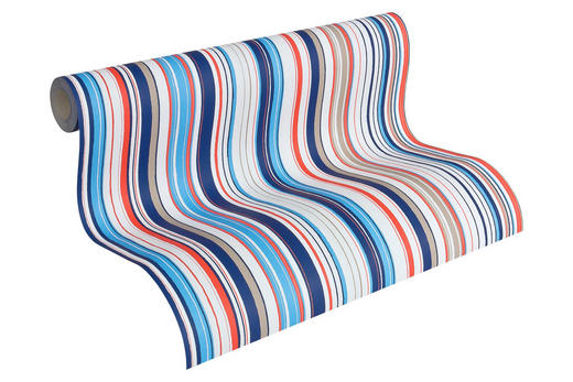 Vliestapete gestreift 10,05 m - Blau/Rot, Design, Papier (53/1005cm)